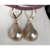 P4826 2line 14mm gray baroque freshwater pearl dangle earring 14k//20